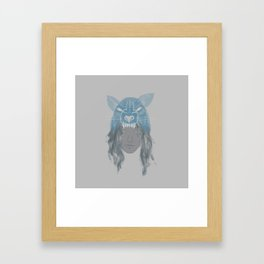 Little Wolf Girl Framed Art Print
