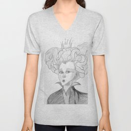 Queen of Hearts from Alice in Wonderland Original Pencil on Paper Unisex V-Neck