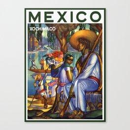 Vintage Xochimilco Mexico Travel Canvas Print