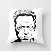 christopher walken Throw Pillows featuring Christopher Walken by Sheena White for Winsome Gallery