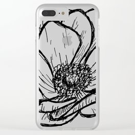 Anemone Floral Modern Line Drawing Clear iPhone Case