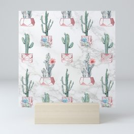 Cactus Rose Gold Marble Potted Cactuses and Succulents Mini Art Print