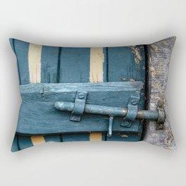 Old blue wooden farm doors Rectangular Pillow