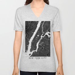 New York City Black And White Map Unisex V-Neck