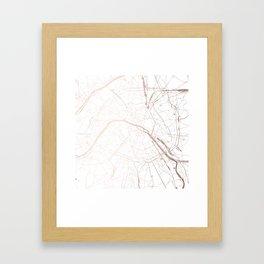 Paris France Minimal Street Map - Rose Gold Glitter Framed Art Print