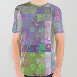 Lotus flower purple and lime green stitched patchwork - woodblock print style pattern All Over Graphic Tee