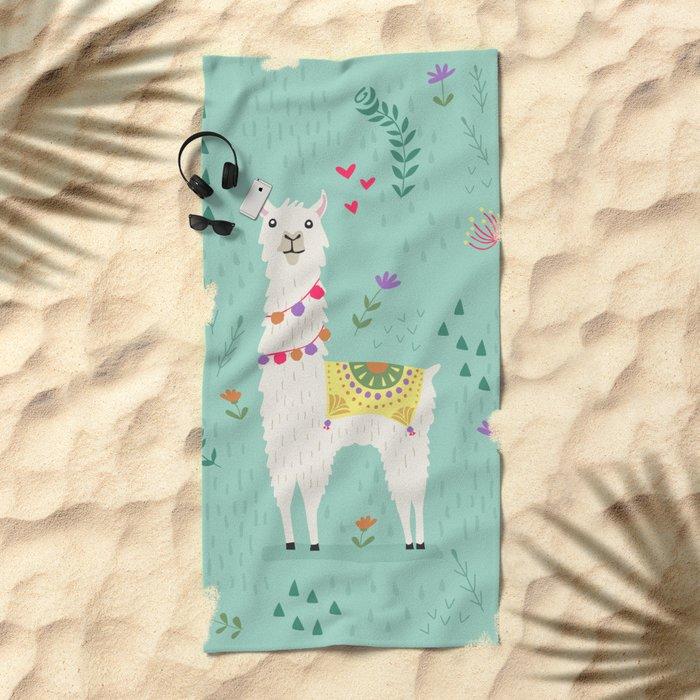 Festive Llama Beach Towel