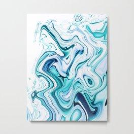 Liquid Marble - aqua & blues Metal Print