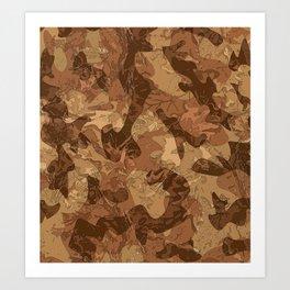 Brown leaf camouflage Art Print