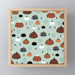 Halloween pumpkin patch garden autumn mint orange pattern design print Framed Mini Art Print