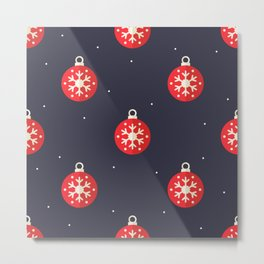 Red Christmas Ornament Pattern Metal Print