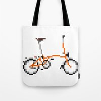 brompton Tote Bags featuring Pixel Art Brompton bicycle - Orange by PixelArtM