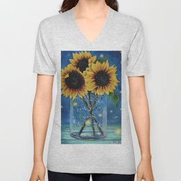 Lightning Bugs and Sunflowers Unisex V-Neck