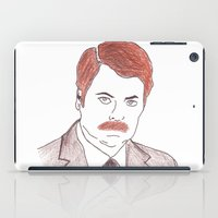 ron swanson iPad Cases featuring Ron Swanson  by nicoleskine