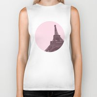 eiffel Biker Tanks featuring Eiffel by Michelle Wang