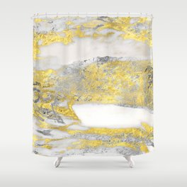 Silver and Gold Marble Design Shower Curtain