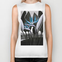 Birds of Paradise Temple of Flora Blue Gray Biker Tank