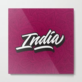 India hand made lettering script Metal Print