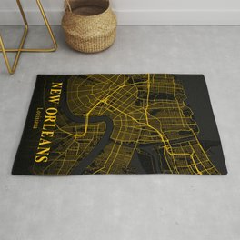 New Orleans Louisiana City Map | Gold American City Street Map | United States Cities Maps Rug