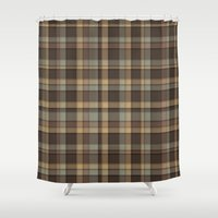 plaid Shower Curtains featuring Brown Plaid by DesignsByMarly