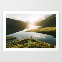 Switzerland Mountain Lake Sunrise - Landscape Photography Art Print