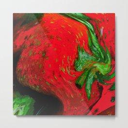 Strawberry Fruit Art Deco Metal Print