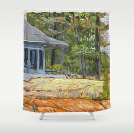 Cottage on the Rocks Shower Curtain