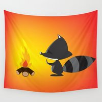 racoon Wall Tapestries featuring camp fire raccoon by mangulica