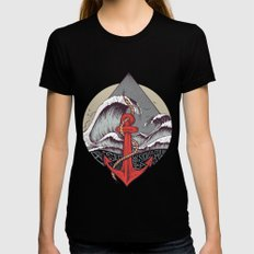 Smooth Sailing Black LARGE Womens Fitted Tee