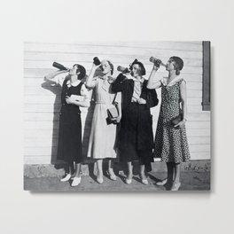 Vintage Flapper Girls Drinking Print, Roaring Twenties Vintage Style, 1925 Metal Print