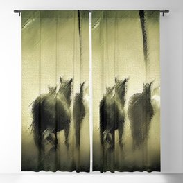 Wild Horses Night Ride Through New England Wilderness Landscape by Jeanpaul Ferro Blackout Curtain