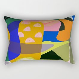 Shapes and Layers no.20 - Abstract painting olive green blue orange black Rectangular Pillow