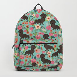 Doxie Florals - vintage doxie and florals gift gifts for dog lovers, dachshund decor, chocolate doxi Backpack