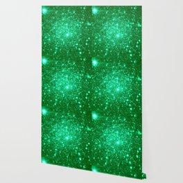 Emerald Green Glitter Stars Wallpaper