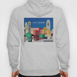 Ann Arbor, Michigan - Skyline Illustration by Loose Petals Hoody