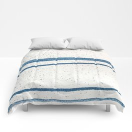 Parallel Universe [horizontal]: a pretty, minimal, abstract piece in lines of vibrant blue and white Comforters