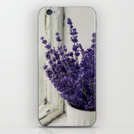 Lavender in the old window - blue floral photography wall art iPhone Skin