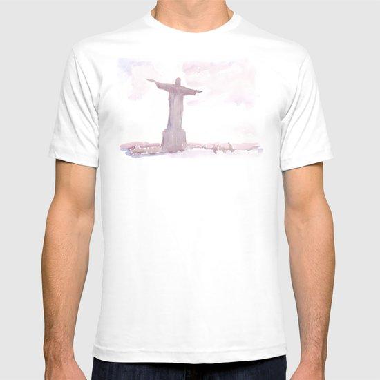Watercolor landscape illustration_Rio T-shirt