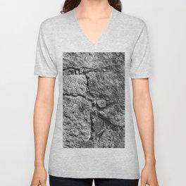 Old igneous stone wall Unisex V-Neck