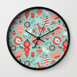 Florals + Ornaments Wall Clock