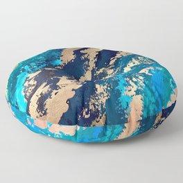 Monterey Emerald Bay Golden Abstract Floor Pillow
