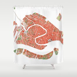 Venice city map classic Shower Curtain