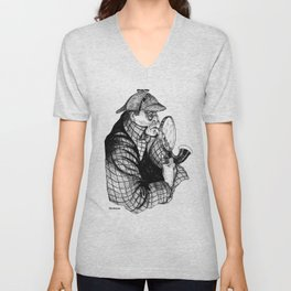 Sherlock Holmes / A Three Pipe Problem by Peter Melonas Unisex V-Neck