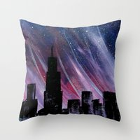 chicago Throw Pillows featuring Chicago by Tesseract
