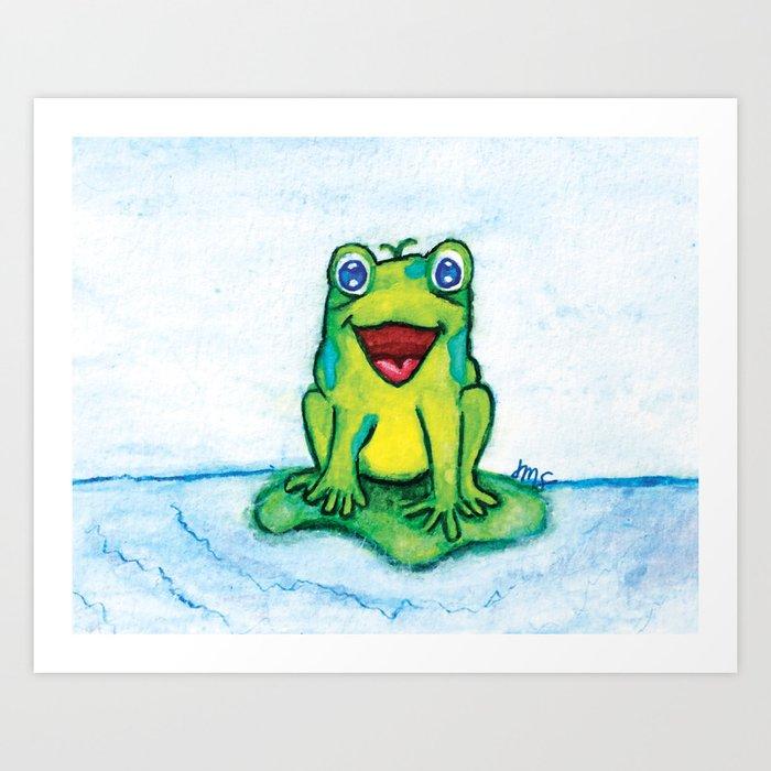 Happy Frog - Watercolor Art Print