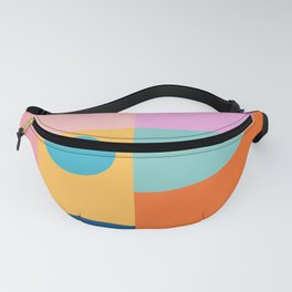 Playful Color Block Shapes in Bright Shades of Orange, Blue, Yellow, and Pink Fanny Pack