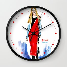 Fashion #14. Long-haired girl in fashionable red dress-transformer Wall Clock