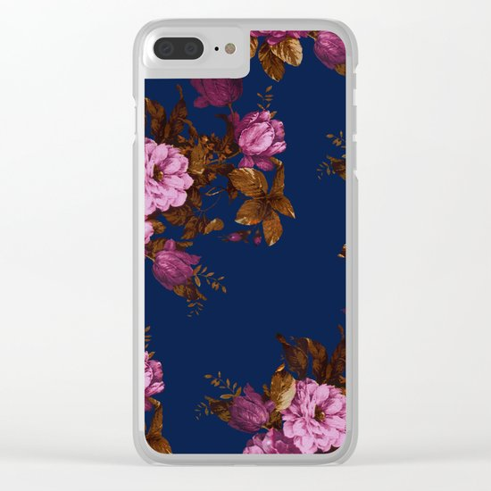 Dark Floral Clear iPhone Case