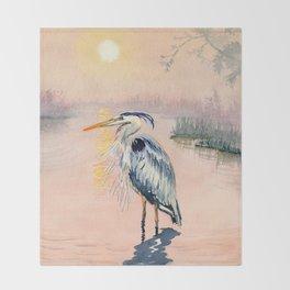 Great Blue Heron at Sunset Throw Blanket