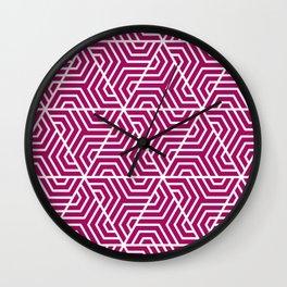 Jazzberry jam- violet - Geometric Seamless Triangles Pattern Wall Clock